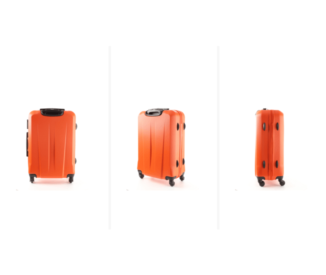 an orange suitcase on a rotating platform