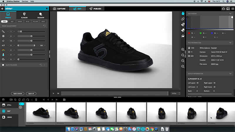 software for 360 image - black sport shoe in post-process