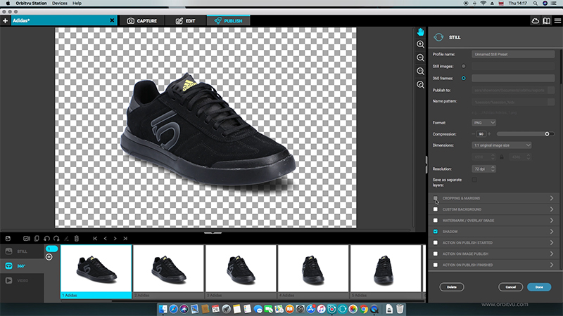 software for 360 photography - black sport shoe