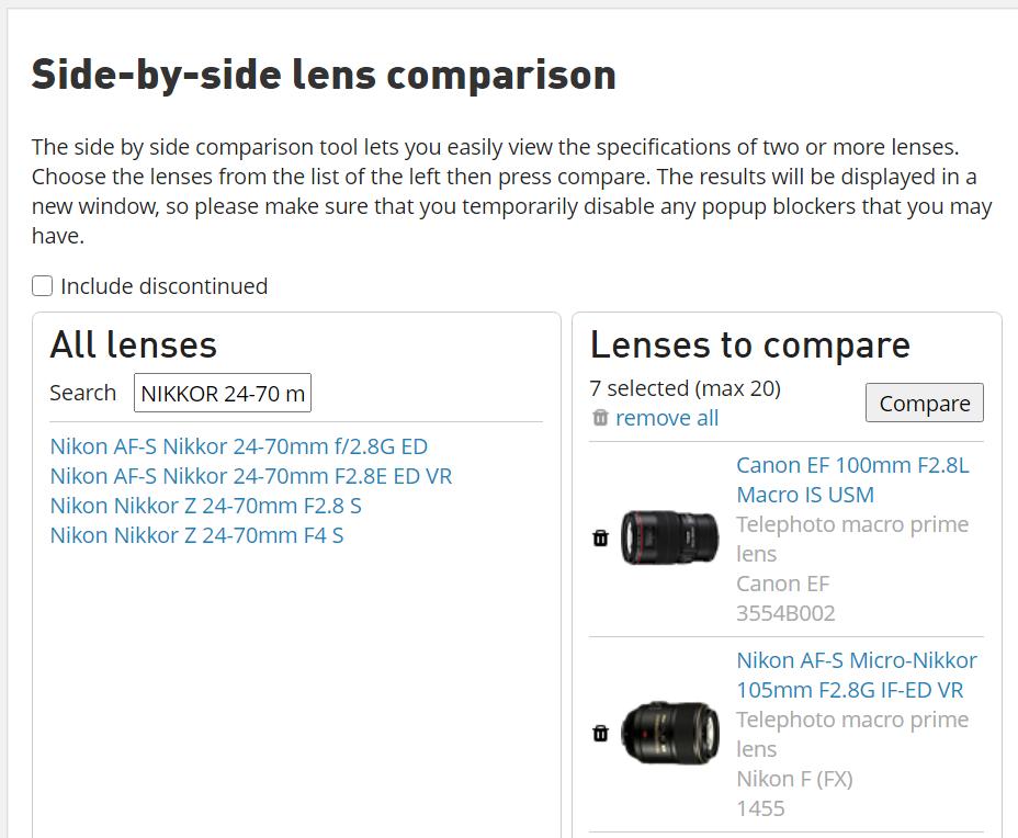 DPR lens comparison engine
