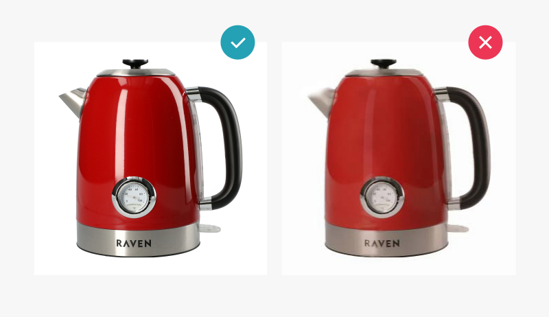 good and bad example visibility of the product - red kettle
