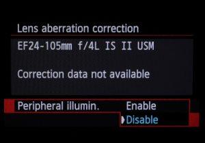 Peripheral illumination correction