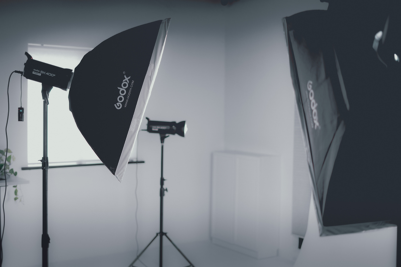 photo studio - Lamps with light diffusers