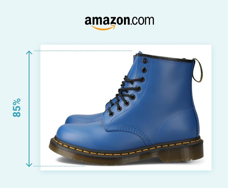 frame size ratio  - product photography - blue shoe