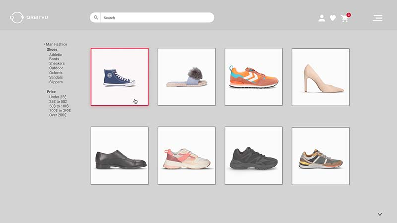 Homepage of a shoe e-commerce portal with good repeatability of packshots
