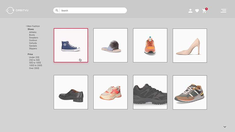 Homepage of a shoe e-commerce portal with no repeatability of packshots