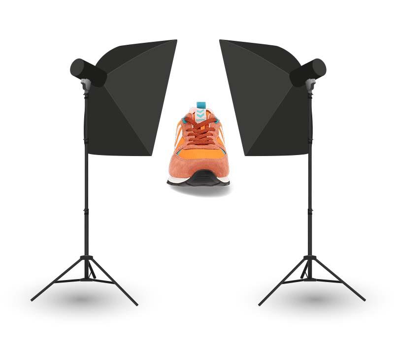Lighting the shoe at a slight angle - metaphorical example