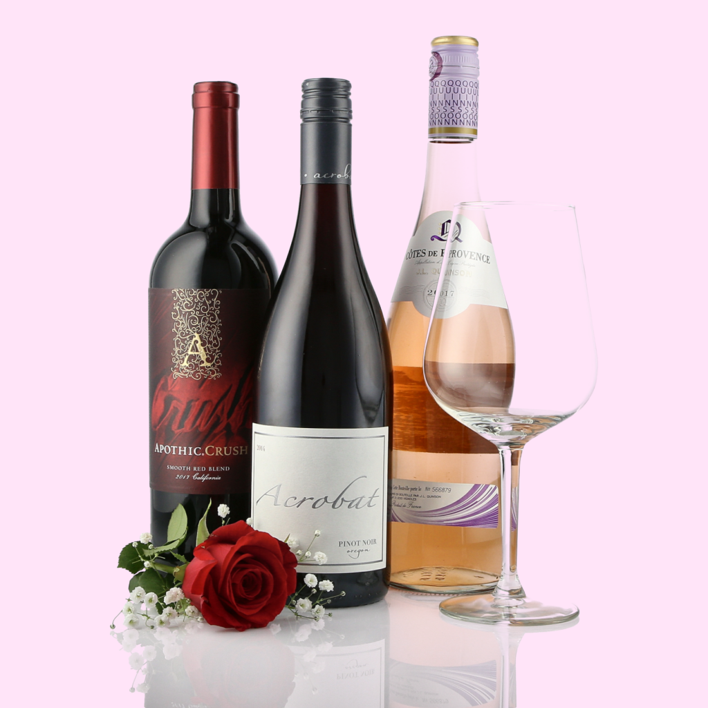 Sample Wine Product image with wine glass and rose on a pink background for Valentine  Social Media Marketing Campaigns