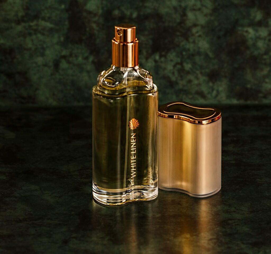 Perfume bottle product photography on white background